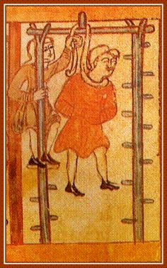 Early medieval illustration of an Anglo-Saxon hanging.  The gallows are quite rudimentary, and it seems like it must have taken a lot of work to perform an execution in this way.