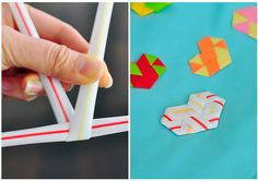 The Cheese Thief: Woven Drinking Straw Heart Projects For Kids, Diy For Kids, Diy And Crafts, Craft Projects, Crafts For Kids, Arts And Crafts, Tween Craft, Craft Ideas, Straw Crafts