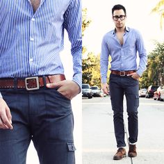 Cool men's fashion: H Shirt, H Belt, Levis Jeans, Tom Ford Glasses, Zara Shoes