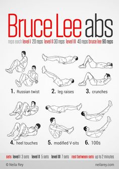 Bruce Lee Abs Workout We know Bruce Lee as the Kick Ass Martial Arts Actor of the He was super fast and super fierce with a super tight body and amazing 6 pack abs. Let's work on getting our. Neila Rey Workout, Gym Workout Tips, Abs Workout For Women, Fitness Workouts, No Equipment Workout, Fitness Tips, Parkour Workout, Hero Workouts, Workout Bodyweight