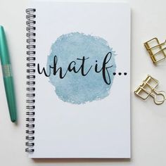 Writing journal, spiral notebook, bullet journal, diary, sketchbook, blue  watercolor, 1545e7ad7b