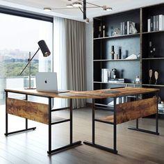 Home Office Setup, Home Office Space, Office Ideas, Modern Office Desk, Masculine Office Decor, Masculine Home Offices, Contemporary Office, Industrial Office Space, Industrial Home Offices