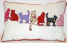 Rectangular Appliqué Cushion Cat, Birdor Butterfly