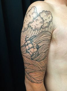 sailor tattoo - Stormy Seas by William Dolittle @ Studio City Tattoo (Los Angeles, CA) Storm Tattoo, Sea Tattoo, City Tattoo, Tattoo Ship, Feather Tattoos, Body Art Tattoos, Sleeve Tattoos, Arabic Tattoos, Ink Tattoos