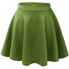 MBJ Womens Basic Versatile Stretchy Flared Skater Skirt ($15) ❤ liked on Polyvore featuring skirts, bottoms, green circle skirt, circle skirt, green skater skirt, flared skirt and skater skirt