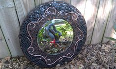 Large Round Mosaic Mirror - Mixed Media Stained Glass Mosaic Art Mirror with Copper Design