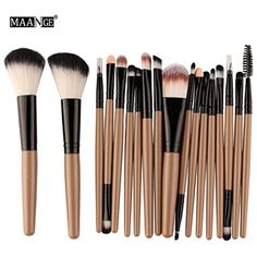 Allrise 18pcs Premium Makeup Brush Set,Cosmetics Foundation Blending Blush Eyeliner Face Powder Brush Makeup Brush Kit,6 #FaceMakeupBrushes