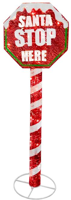 Stop Sign with LED Lights Christmas Decoration