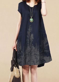 New Women Summer Mori Girl Big Yards Loose Cotton Ink Printed Short Sleeve Dress