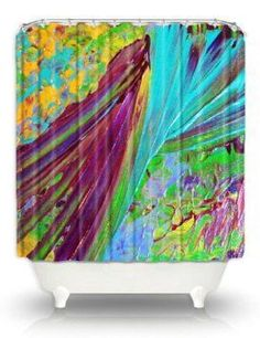 Bold Pattern  shower Curtains, blue and yellow | visit wanelo com