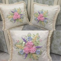Pastel Candy Colors#decor #cushion #malaysianmade #malaywedding #crafts #handmade #handembroidery #handcraft #ribbon #ribbonembroidery #embroidery #roses #rose #pink #pillow #pastel Ribbon Embroidery, Embroidery Designs, Pastel Candy, Embroidered Cushions, Candy Colors, Colorful Decor, Cushion Covers, Needlework, Bed Pillows