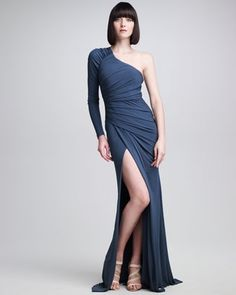 One-Sleeve Ruched Jersey Gown by aliciainshoeland