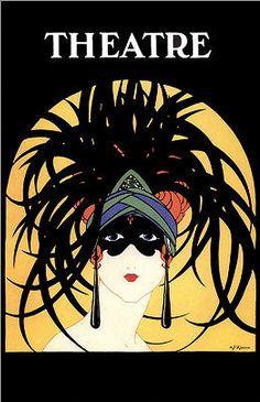 Theatre vintage magazine cover  #headdress #masquerade