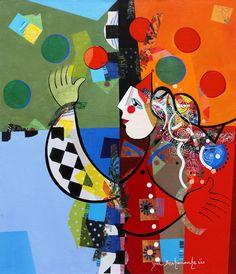 Le jeux des sphères - 60 x 70 cm - Acrylique sur toile
