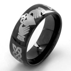 Proclaim your love, loyalty and friendship for all to see when you choose this black-plated stainless steel Claddagh ring for a special man in your life. Black-plated stainless steel makes the perfect