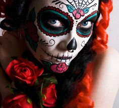 Dia de los Muertos face painting templates | painted faces | . pink + gray + gold .
