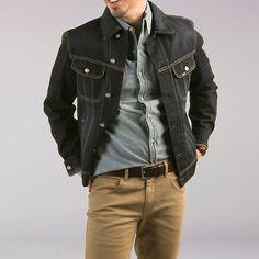 Men's Denim Jacket Lee Denim Jacket, Denim Jacket Fashion, Vest Jacket, Great Mens Fashion, Man Lee, Love Jeans, Mens Clothing Styles, Jacket Style, Menswear