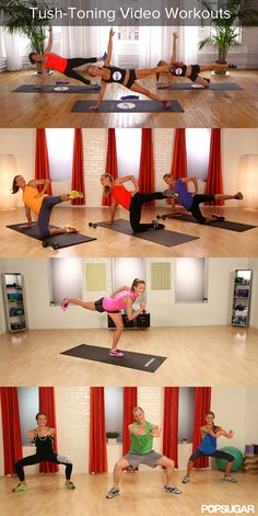 Feel the Burn! Butt-Blasting Video Workouts.  Love the first one - #squats #train #trainer #fit #fitbody #fitness  #sexy #sweat #muscle #glutes #abs #booty #core #hammies #quads #legs Find Cool Fitness Gadgets via ww.MegaFitness.com