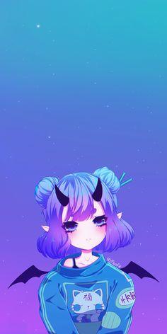 Best Ideas For Wallpaper Anime Girl Cute Emo Anime Girl, Pretty Anime Girl, Chica Anime Manga, Anime Neko, Kawaii Anime Girl, Anime Girl Drawings, Cute Drawings, Anime Devil, Cute Anime Wallpaper