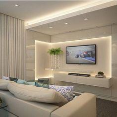 Living Room Tv Wall Decor Floating Shelves Tv Cabinets Ideas For 2019 Tv Cabinet Design, Tv Unit Design, Tv Wall Design, Living Room Tv Unit, Living Room Decor, Living Rooms, Tv Wall Decor, Wall Tv, Tv In Bedroom