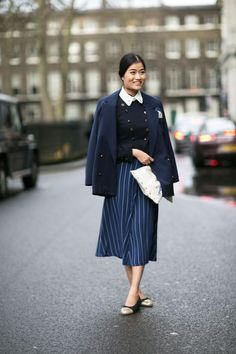 Pair a pinstriped skirt with polished pieces like a collared shirt + tailored blazer
