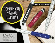 Ball Point Pen, Stylus, & LED Light Great for trade shows and gifts!