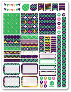 One 6 x 8 sheet of weekly spread planner stickers cut and ready for use in your Erin Condren life planner, Filofax, Plum Paper, etc! An assortment