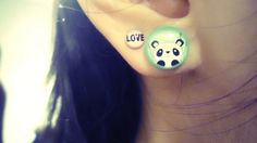 Pink Love Earrings and solid acrylic Bamboo panda ear plug. So cute