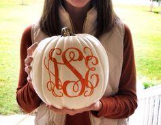 Monogram a pumpkin this year Fall Halloween, Happy Halloween, Halloween Stuff, Seasonal Decor, Fall Decor, Happy Fall Y'all, Hello Autumn, Autumn Inspiration, Fall Crafts
