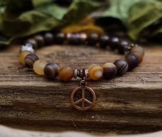 Peace Sign Charm Bracelet Antique Copper Charm Agate Bronzite by NouveauYourself on Etsy