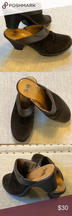 Sofft suede and leather mules Sofft suede and leather mules with stitching detail. Used with a lot more use to them. Little scuffs on toes but in great condition. Very comfortable shoes. Sofft Shoes Mules & Clogs