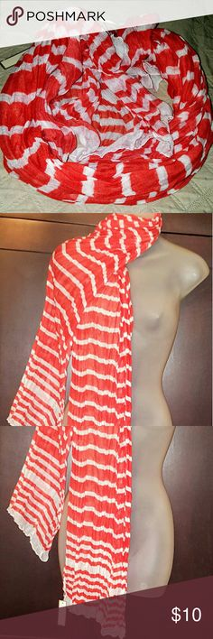 NWT! Coral & White Striped Scarf NWT! Coral & White Striped Scarf. Accessories Scarves & Wraps