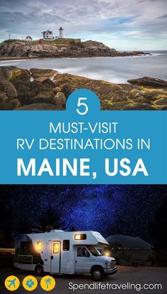 Thinking about exploring Maine in an RV? These are 5 top places to visit plus the best campgrounds. Going RVing in Maine? These 5 Maine destinations are some of the best places to go RVing not just in Maine, but the whole USA! Best Places To Camp, Cool Places To Visit, Places To Travel, New Orleans, New York, Camping In Maine, Rv Camping, Camping Places, Camping Guide