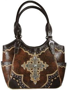 Western Style Purse Tooled Faux Leather Handbag with Rhinestone and Filigree Cross Available in 3 Colors (Brown),