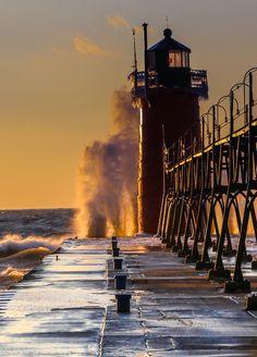 Winter lighthouse,South Haven, Lake Michigan.USA