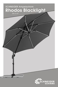 Ampelschirm Rhodos Blacklight 300 Cm Ø//Bespannung: 100 % Polyester,ca. 180  G/m², Ohne Volant,mit Air Vent, Verrottungsfest, Wasserabstoßend  Imprägniert ...