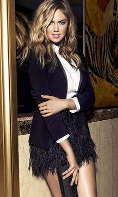 White Shirt, Black ostrich feather Skirt, fitted tuxedo Blazer