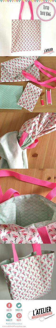 Tuto couture tote bag facile flamants roses par l'atelier de la creation