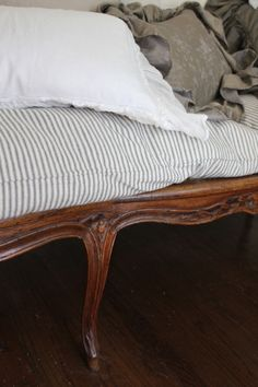 seersucker+Traditional french lines=Magnifique French Flea Market Style and Interiors French Country Bedrooms, French Country House, French Interior, French Decor, Flea Market Style, Shabby, Beds For Sale, Beautiful Interior Design, Ticks