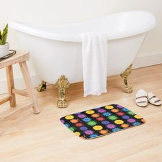 Seriously... @RedBubble do bath mats now! This rainbow chakra art by moi, Tangerine Meg.