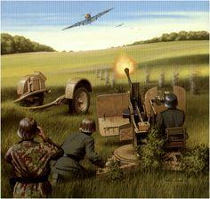 20mm Flak 38 abriendo fuego contra un caza ruso.