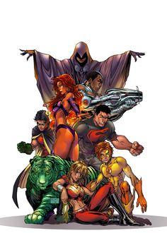 Teen Titans artwork by Michael Turner colors by Ivanna Matilla. Arte Dc Comics, Dc Comics Superheroes, Superhero Characters, Dc Characters, Titans Rebirth, Arte Nerd, Univers Dc, Marvel E Dc, Avengers Art