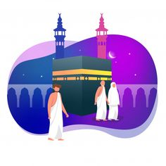 Hajj Greeting Muslim Around Kaaba Islamic Vector Illustration Islamic Art Canvas, Muslim Greeting, Islamic Posters, Islamic Cartoon, Arabic Calligraphy Design, Anime Muslim, Kids Poster, Cute Drawings, Graphic Illustration