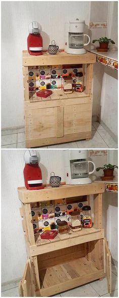 Now this is what we call to add your kitchen areas with the exciting and yet fun activities! A pleasant arrangement of the wood pallet cabinet piece has been put forward in this recycling idea of the wood pallet. It do feature the appearance of the simple cabinets and divisions of the shelves as part of it.
