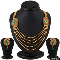 Beautiful five string gold plated necklace set