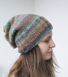 hand knitted slouchy pastel rainbow striped hat, teens womens soft multicolor beanie, green, pink, turquoise, blue