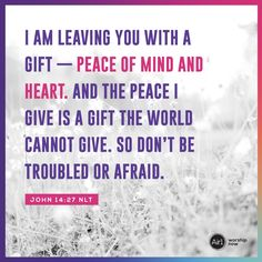 I am leaving you with a gift—peace of mind and heart. And the peace I give is a gift the world cannot give. So don't be troubled or afraid. –John 14:27 NLT #VerseOfTheDay #Bible Bible Quotes, Bible Verses, Scriptures, Good Proverbs, Great Quotes, Inspirational Quotes, John 14 27, True Vine, Words Of Jesus