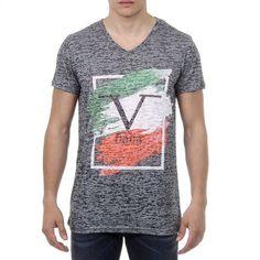 V 1969 Italia Mens T-shirt Short Sleeves V-Neck Dark Green LUCAS