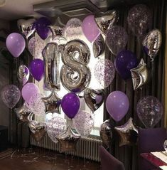 Super Ideas For Birthday Decorations Balloons Birthday Goals, 21st Birthday, Girl Birthday, Birthday Parties, Birthday Room Decorations, Balloon Decorations, Purple Party Decorations, 18th Birthday Decor, 18th Birthday Party Ideas For Girls