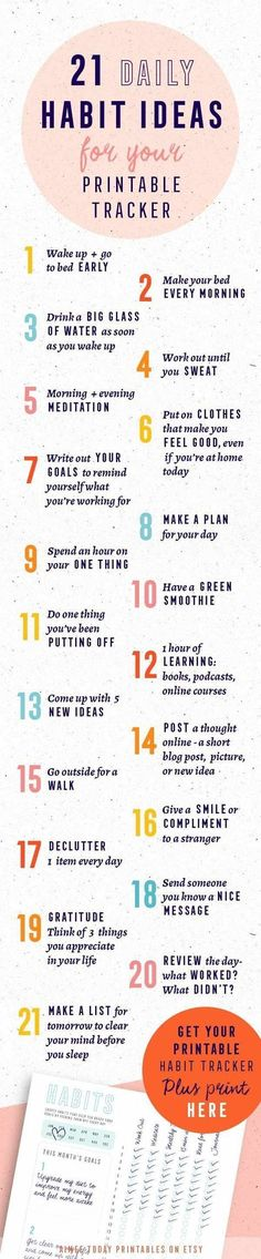 21 ideas for good habits that you can build and track with your printable habit tracker. Theyll make you happier, healthier, more organised and bring you closer to your goals. Have more fun bringing your dreams to life! Good Habits, Healthy Habits, 7 Habits, Self Development, Personal Development, Evening Meditation, Health And Wellness, Health Fitness, Fitness Diet